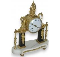 Louis XVI marble column clock, black and white.