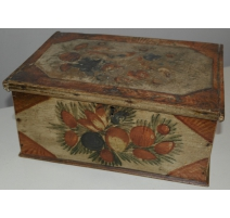 "Small wooden chest painted ""Fruit and bird"""