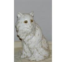 Chat en céramique blanche vernissée