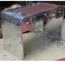 Schreibtisch-modell B-121 alu und braunes leder