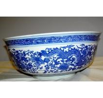 Bol en porcelaine blanc/bleu