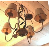 Lustre à 4 lumières en fer peint et