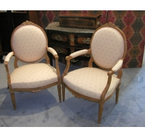 Pair of Louis XVI armchairs beech