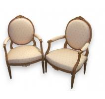 Paire de fauteuils Louis XVI en hêtre