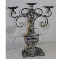 Candlestick with 3 candles, iron-painted - large