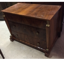 Chest of drawers Directoire walnut Caryatids