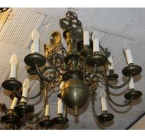 Lustre Hollandais à 12 lumières, décor aigles