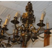Lustre Hollandais à 6 lumières, décor fleurs