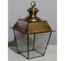 """Lanterne carrée modèle """"Chamonix"""" en laiton patiné"""