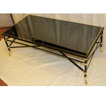 Table basse rectangulaire, laiton noir et doré