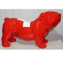 """Bulldog anglais """"Drapeau Suisse"""" en résine rouge"""