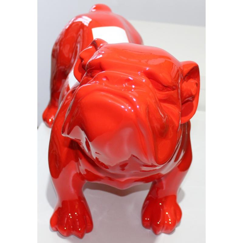 Bulldog anglais drapeau suisse en r sine rouge sur for Decoration en anglais