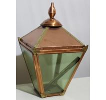 Lantern square copper and brass