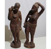 """Paire de sculptures africaines """"Homme et Femme"""""""