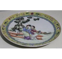 Assiette chinoise en porcelaine (ébréchée)