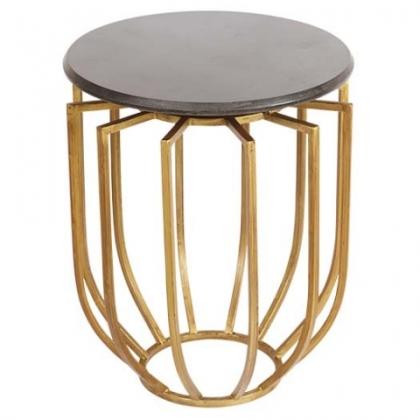 Table bout de canapé ronde en fer doré ajouré