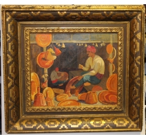 "Tableau ""Uskub"" signé M. AMIGUET 1929"