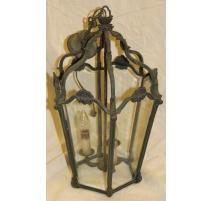 Lanterne hexagonale en laiton vert à 3 lumières