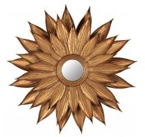 Espejo en forma de flor dorada de hierro