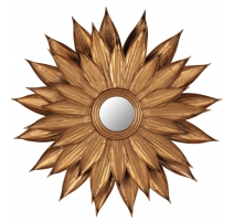 Mirror flower-shaped gilded iron