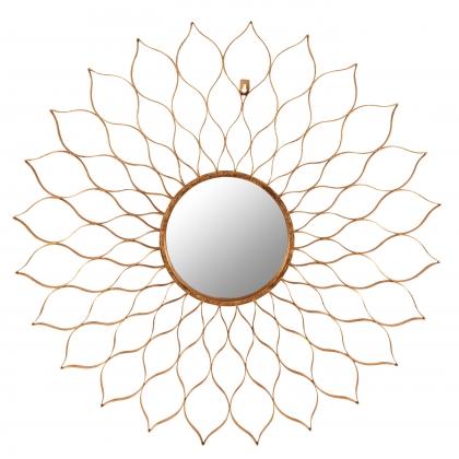 Miroir ajouré en forme de fleur en fer doré
