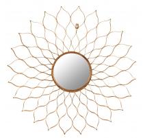 Mirror, openwork flower-shaped gilded iron