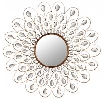 Espejo calado en la forma de una pluma de pan de oro