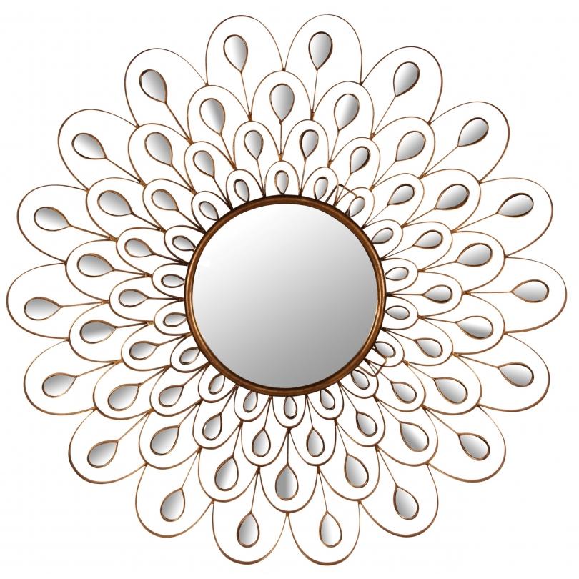 Miroir ajouré en forme de plume de pan doré