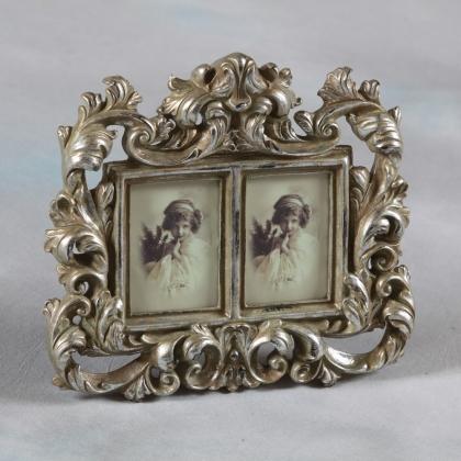 Cadre photo double style baroque, argenté