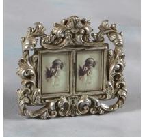 Marco de la foto del doble de estilo barroco, plateado