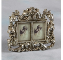 Photo frame double baroque-style, silver-plated