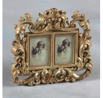 Marco de la foto doble, de estilo barroco, dorado