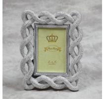 """Рамка для фото """"Шнур плетеный"""" серебряный, маленький"""