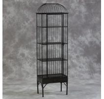 Haute cage à oiseau avec étagères