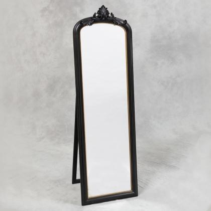 Miroir style Napoléon III à poser, noir et doré