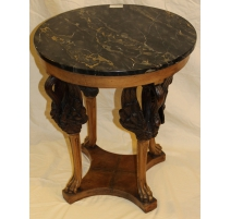 Pedestal table in the style Empire, top, marble Portor