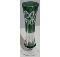 Jarrón en pie en el cristal de Val St Lambert verde