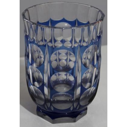 Vase en cristal de bohème bleu