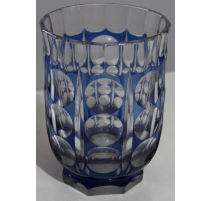 Jarrón de cristal de bohemia azul