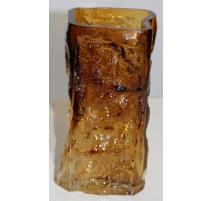 Jarrón de hielo de vidrio marrón, firmado BLOMQVIST