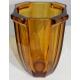 Vase Art Deco en verre ambre moullé par SOWERBY