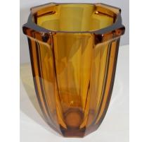 Vase Art Deco glas-bernstein moullé von SOWERBY