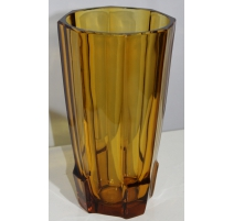 Vase Art Deco glass amber moullé by SOWERBY