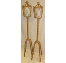 Paire de lampadaires en corde par AUDOUX-MINET