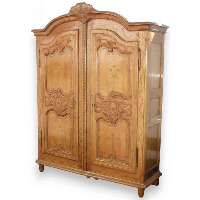 Armoire fribourgeoise 2 portes d cor oiseaux sur moinat for Decoration porte armoire