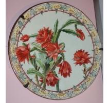 """Grand plat en faïence """"Fleurs de cactus"""" ESTOPPEY"""
