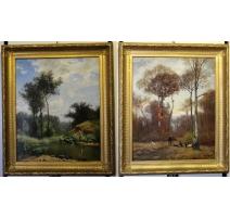 """Paire de tableaux """"Pêche"""" et """"Chasse"""" signé FANART"""