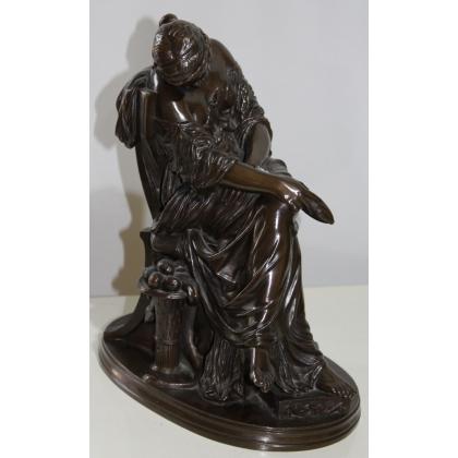 """Bronze """"Filleuse endormie"""" signé J. CAVELIER"""