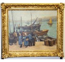 """Tableau """"Port de Bretagne"""" signé J GUYOT-GUILLAIN"""