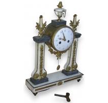 Louis XVI clock, white and gra